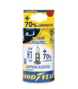 Lampada Alogena per auto Good Year H1 12V 55W + 70% Luminosità