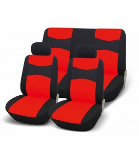 Set of universal elasticized seat cover-RED