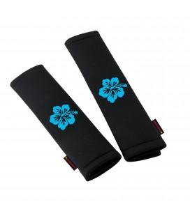 Pair of blue My Flower seat belts pads