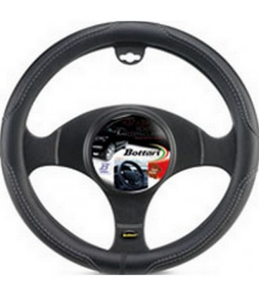"""Steering wheel cover """"ROAD"""" black/gray leather 39/41cm"""