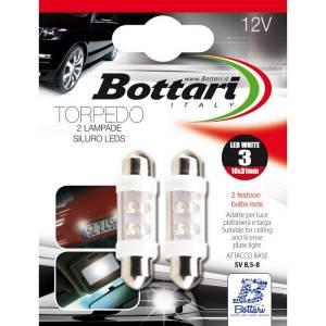 "Lampada a Siluro 12V SV 8,5-8 3 LED Bianchi ""TORPEDO 3"" Set 2 PZ"