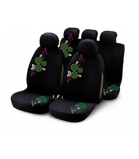 "Completo fodere auto ""MY FLOWER SWIVEL"" 9 pcs - verde/viola"