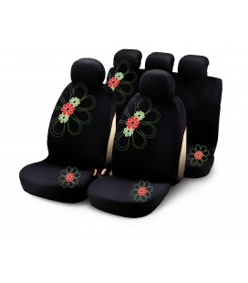 Completo fodere auto MY SPRING FLOWER 9 pcs - verde rosso