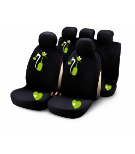 "Completo fodere auto ""MY SWEET CAT"" 9 pcs - verde"