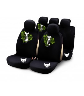"Completo fodere auto ""MY SWEET KITTY"" 9 pcs - verde"