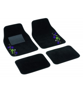 "SET 4 TAPPETI IN MOQUETTE ""MY STAR"" - VERDE/VIOLA"