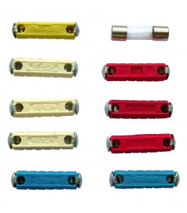 Card of 10 assorted cyclindric fuses