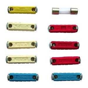 Tache mit 10 verschiedenen zylindrischen Sicherungen
