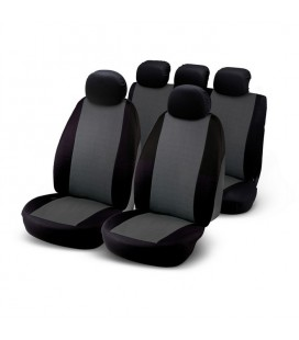 Set composed of 9 pieces: 2 front seat covers, 5 headrests and 2 rear seat covers with 3 zips