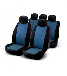 "Set of universal elasticized seat cover black and blue ""J9"""