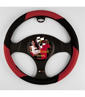 "Steering wheel cover ""MESH"" Black red diameter 38 CM"