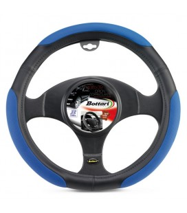 """ORION"" black leather-like steering wheel cover 37-39 cm with blue grips"