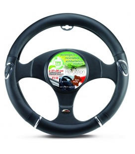 Steering wheel cover F116 black with chromed insertes 37-39cm