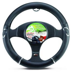 Steering wheel cover F116 black with chromed insertes 37-39cm